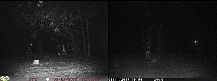 Рис. 2 Сравнение дистанции ночной подсветки фотоловушек Bolymedia (слева) и другого производителя (справа)